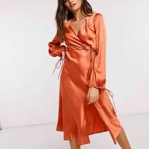 ASOS satin wrap dress